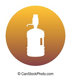 Plastic bottle silhouette with water and siphon. White icon...