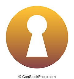 Keyhole sign illustration. White icon in circle with golden grad