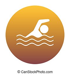 Swimming water sport sign. White icon in circle with golden...