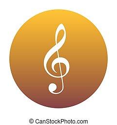 Music violin clef sign. G-clef. Treble clef. White icon in...