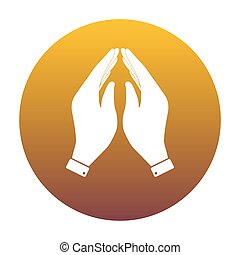 Hand icon illustration. Prayer symbol. White icon in circle with