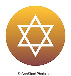 Shield Magen David Star. Symbol of Israel. White icon in...