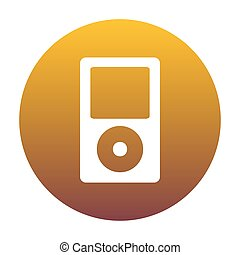 Portable music device. White icon in circle with golden gradient