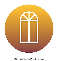 Window simple sign. White icon in circle with golden gradient as
