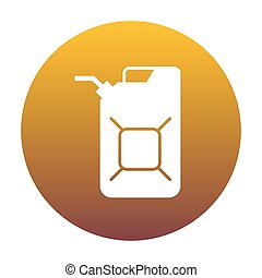Jerrycan oil sign. Jerry can oil sign. White icon in circle...