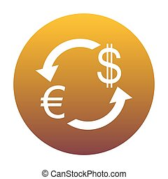Currency exchange sign. Euro and US Dollar. White icon in circle