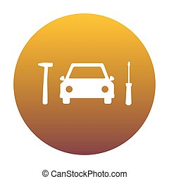Car tire repair service sign. White icon in circle with golden g