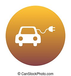 Eco electric car sign. White icon in circle with golden...