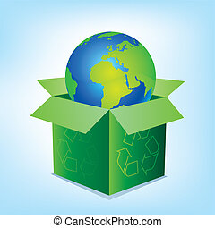 vector box and earth