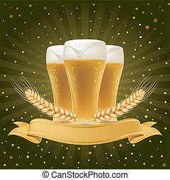 design element for beer - beer and wheat,abstract background