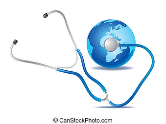 stethoscope and blue earth - stethoscope and earth isolated...