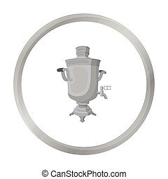 Samovar icon in monochrome style isolated on white background. Russian country symbol stock vector illustration.