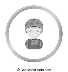 Soldier monochrome icon. Illustration for web and mobile...