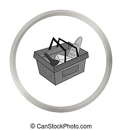 Shopping basket full of groceries icon in monochrome style isolated on white background. Supermarket symbol stock vector illustration.