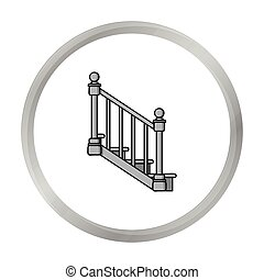 Stairs icon in monochrome style isolated on white...