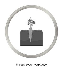 Carrot icon monochrome. Single plant icon from the big farm, garden, agriculture monochrome.