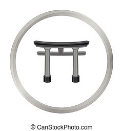 Torii icon in monochrome style isolated on white background....
