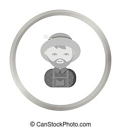 Farmer monochrome icon. Illustration for web and mobile...