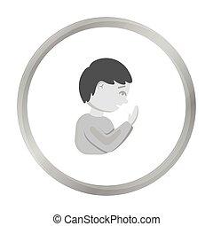 Cough icon monochrome. Single sick icon from the big ill, disease monochrome.