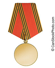 Blank gold medal, isolated on white background