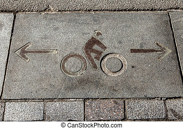 Bicycle Path Marking on Asphalt - Bicycle diagram in the...