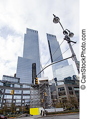 Skyscrapers Midtown Manhattan - Low angle view of...