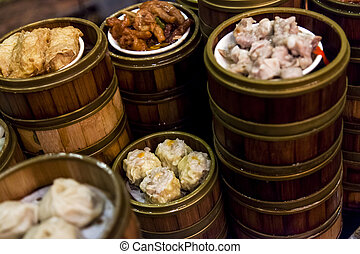 Chinatown Restaurant Dishes - Stacks of Chinese food dishes...