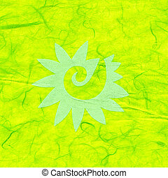 Rice Paper Texture - Decorated Yellow - High resolution scan...