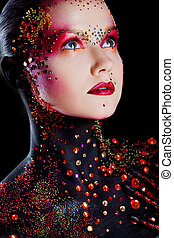 Young attractive girl in bright art-makeup, body painting. -...