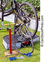 Bicycle upside down flat tire repair - Bicycle upside down...