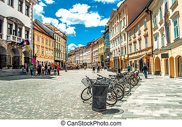 colorful street Ljubljana summer Lubiana buildings clean...