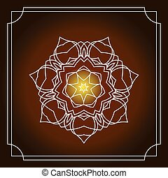 Shiny background with white floral mandala and frame