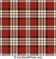 Tartan Seamless Pattern Background. Red, Black, Camel Beige...