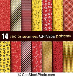 Set Chinese with Ornamental Fish Vector Seamless Pattern in Red, Black, Yellow  and  White
