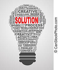 Bulb shape wordcloud word tags solution