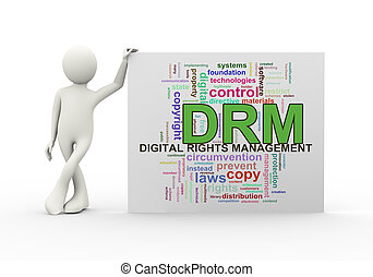 3d man with wordcloud drm digital rights management - 3d...