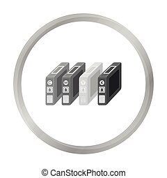 Ink cartridges in monochrome style isolated on white...