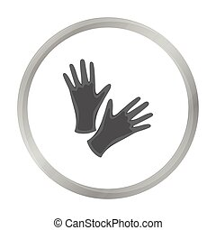 Black protective rubber gloves icon monochrome. Single...