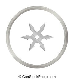 Metal shuriken icon monochrome. Single weapon icon from the...
