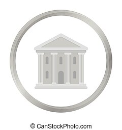 Theatre building icon in monochrome style isolated on white...