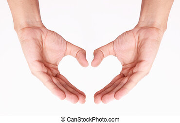 Heart - Hands forming a heart on a white background