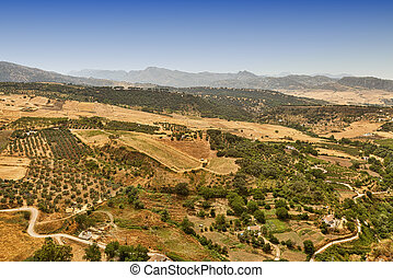 Ronda (Andalucia, Spain): view of the historic city over the...