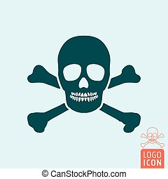 Jolly roger icon isolated - Jolly roger icon. Skull and...