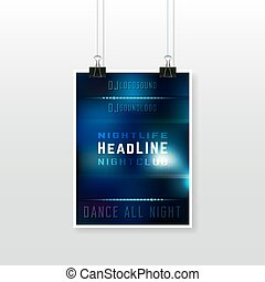 Party poster template - Night club flyer with binder clips...