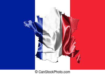 French National Flag With Map Of France On It 3D illustration