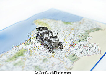 Abstract idea of rent a car. Small car on map.