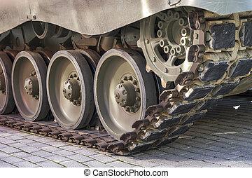 装甲, タンク, オフロード, 細部, 軌道に沿って進む, 車, 防衛, 軍, 車輪, ∥あるいは∥