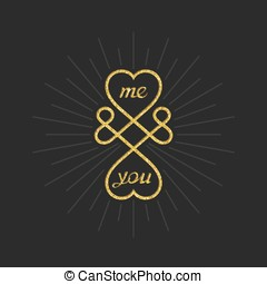 Creative love symbol - Me and you. Conceptual symbol of...
