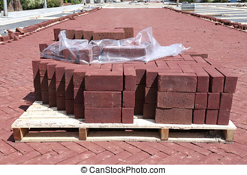 cobbles - pallet of cobbles at construction site in...