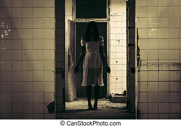 Horror scene of haunted woman